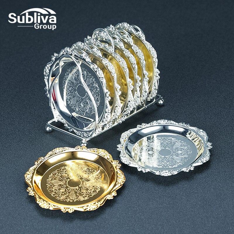 Cocktail Drink Coaster Vintage Gold Silver Zinc Alloy Metal Saucer Tea Pad Drink Coasters Multilateral Silver