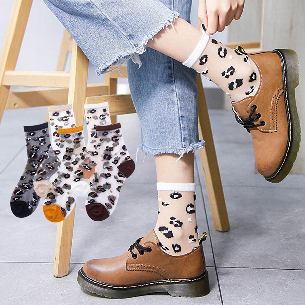 New Product Spring Summer Transparent Crystal Silk Socks Women Sexy Leopard Grain Fashion Casual Breathable Woman's Socks