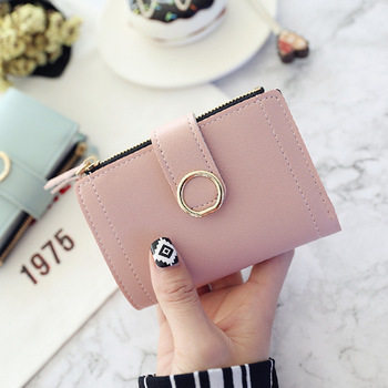 цены Women Wallets Small Fashion Brand Leather Purse Lady Card Holder Bag For Women 2020 Clutch Female Purse Money Clip Short Wallet