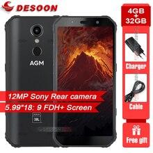 "Agm a9 5.99 ""18:9 4gb ram 32gb rom ip68 impermeável 5400mah bateria smartphone nfc otg android 8.1 carga rápida áspero celular"