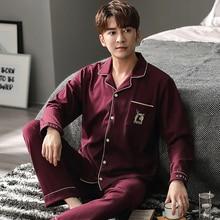 Весна осень хлопок мужчины% 27 пижамы комплекты простые полосатые пижамы для мужчин удобные повседневные большие размеры одежда для сна стрейч пижамы комплекты