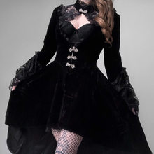 Dark Retro Autumn Victorian Dress Women Gothic Cosplay Costume Vintage Dresses With Collar Black Lace Long Lantern Sleeve Dress(China)