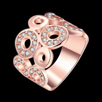 Rose Gold Plated Carved Round Fashion Shiny Zirconia Elegant Ring with Rhinestones for Love Luxury Jewelry Party AKR017 image