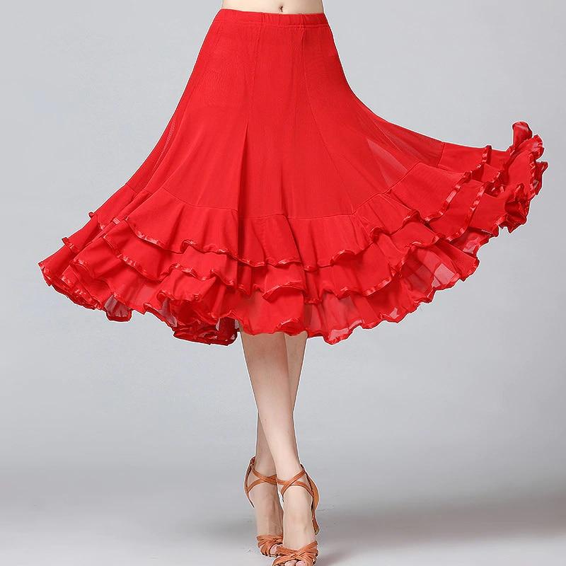 Lady Ballroom Dance Skirts Female Waltz Modern Dancing Skirts Tango Performance Costume National Standard Dance Skirts