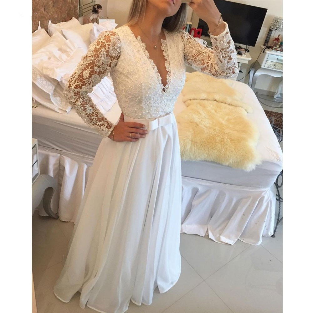 Romantic Special Offer Natural Vestido De Novia 2018 Sexy Backless Robe De Mariage Long Sleeve Lace Mother Of The Bride Dresses