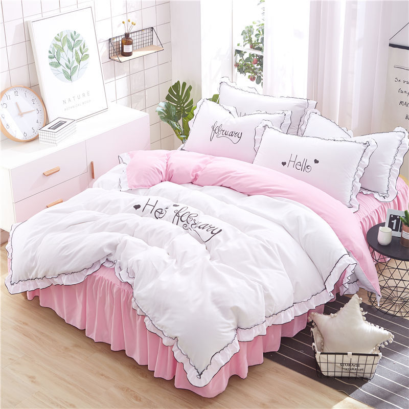 2019 Autumn New Style Four-piece Of Bed Skirt Korean-style Beddings Quilt Cover Pillow Case 4 Pieces In A Set Textile A Generati