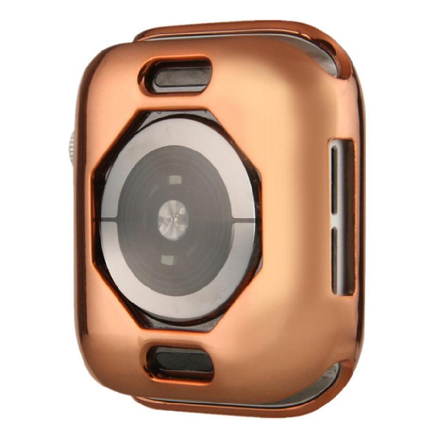 Чехол s для Apple Watch, 44 мм, 40 мм, серия 5, чехол с покрытием, TPU, мягкая защитная оболочка, защитная рамка для iWatch, 4 полосы, бампер - Цвет: Розовое золото
