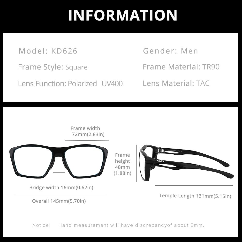 New Square Sunglasses Men Sport Eyewear TR90 Frame UV400 Protection Mirrored Red lens With Case KD626-C2 KDEAM LUXURY