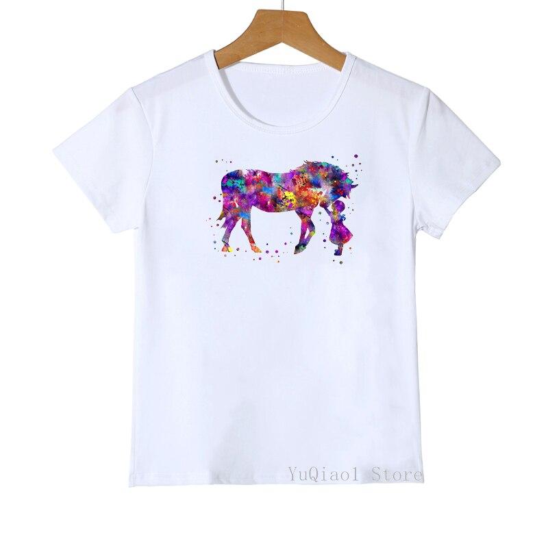 Meninas meninos do amor do cavalo da aguarela estampa animal camiseta meninas meninos engraçado branco crianças roupas gráficas camisetas verão