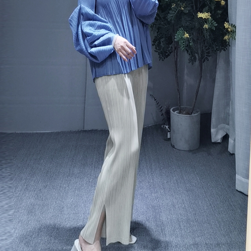 MIYAKE dobrar PP série de tamanho grande das mulheres desgaste fino reta calças dividir cores nove cor calças calça casual livre grátis - 5