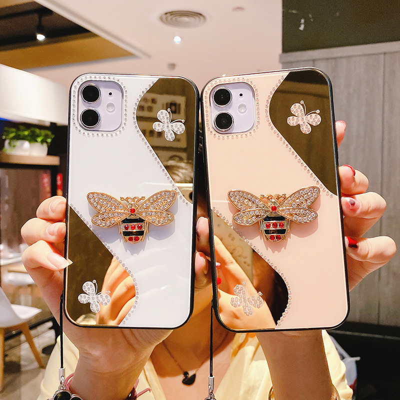 Luxury Glitter Bee Diamond Phone Case For iPhone 11 12 Pro X XS Max XR Fashion butterfly Lanyard For iPhone 6 6s 7 8 Plus Cover