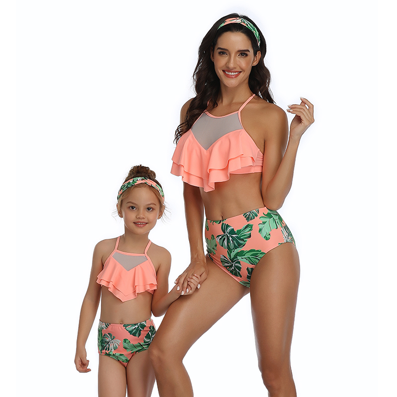 Ruffled Leaf Swimwear Mother Daughter Bikini Swimsuits Family Look Mommy And Me Matching Clothes Outfits Mom And Baby Beachwear