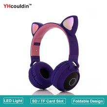 Foldable Kids Headphones with Microphone LED Light Cat Ears Adjustable Headband SD Card Slot Over Ear Wireless Bluetooth Headset цена