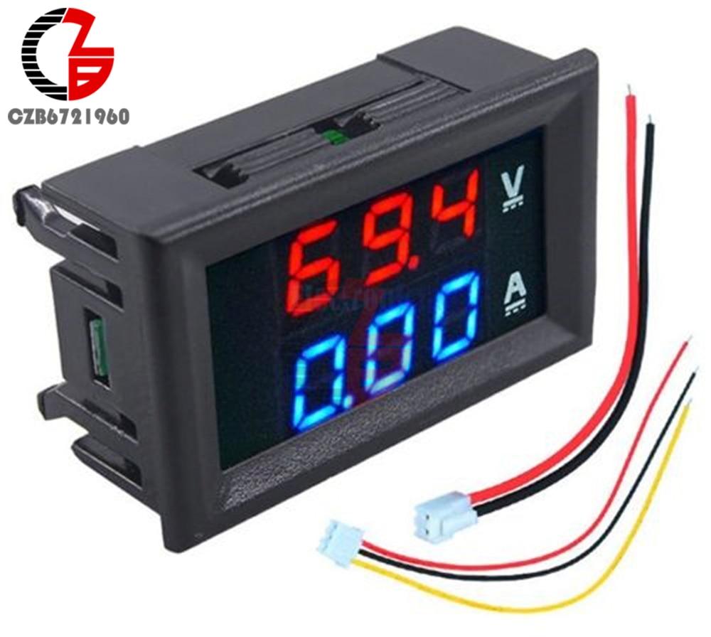 Цифровой мини-Вольтметр Амперметр постоянного тока 100 в 10A 50A измеритель напряжения тока для солнечной батареи Автомобильный вольт ампер те...
