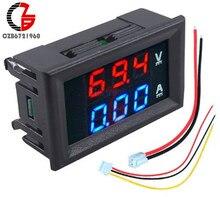 Mini amperímetro do voltímetro de digitas da c.c. 100v 10a 50a 100a tensão medidor atual bateria solar carro volt amp tester monitor detector