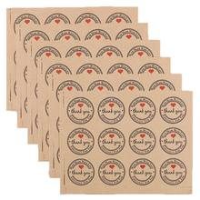 120 Pcs 3.8CM Thank You Kraft Paper Sticker Labels for Wedding Party Favor Thank You Card, Thank You Stamp Sticker, DIY Gift Pac(China)