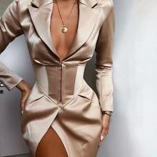 Yesexy 2019 Autumn Winter Sexy Notched Deep V Slim Women Dresses Long Sleeve Office Lady Blazer Mini MQ093