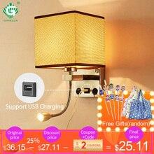 الحديثة داخلي وحدة إضاءة LED جداريّة مصباح السرير غرفة نوم زين الشمعدان مع التبديل USB E27 لمبة الداخلية اللوح الأمامي المنزل فندق الجدار