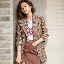 Suit Autumn Plaid Small Thousands Birds Extra Retro Women 2019 Notched Single Breasted Jackets and Coats