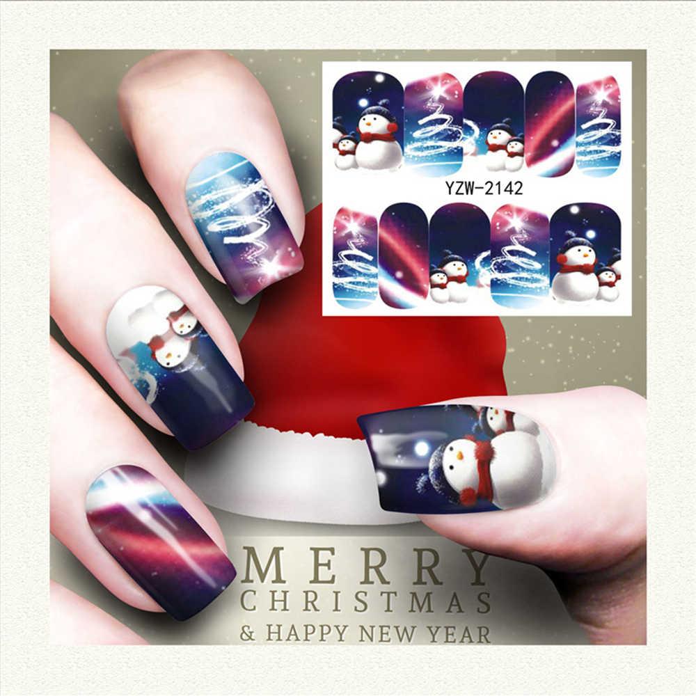 1 stücke Weihnachten Winter Schneeflocke Santa Claus Voll Wraps Nail art Wasser Transfer Aufkleber Nagel Aufkleber Aufkleber Designs Decals