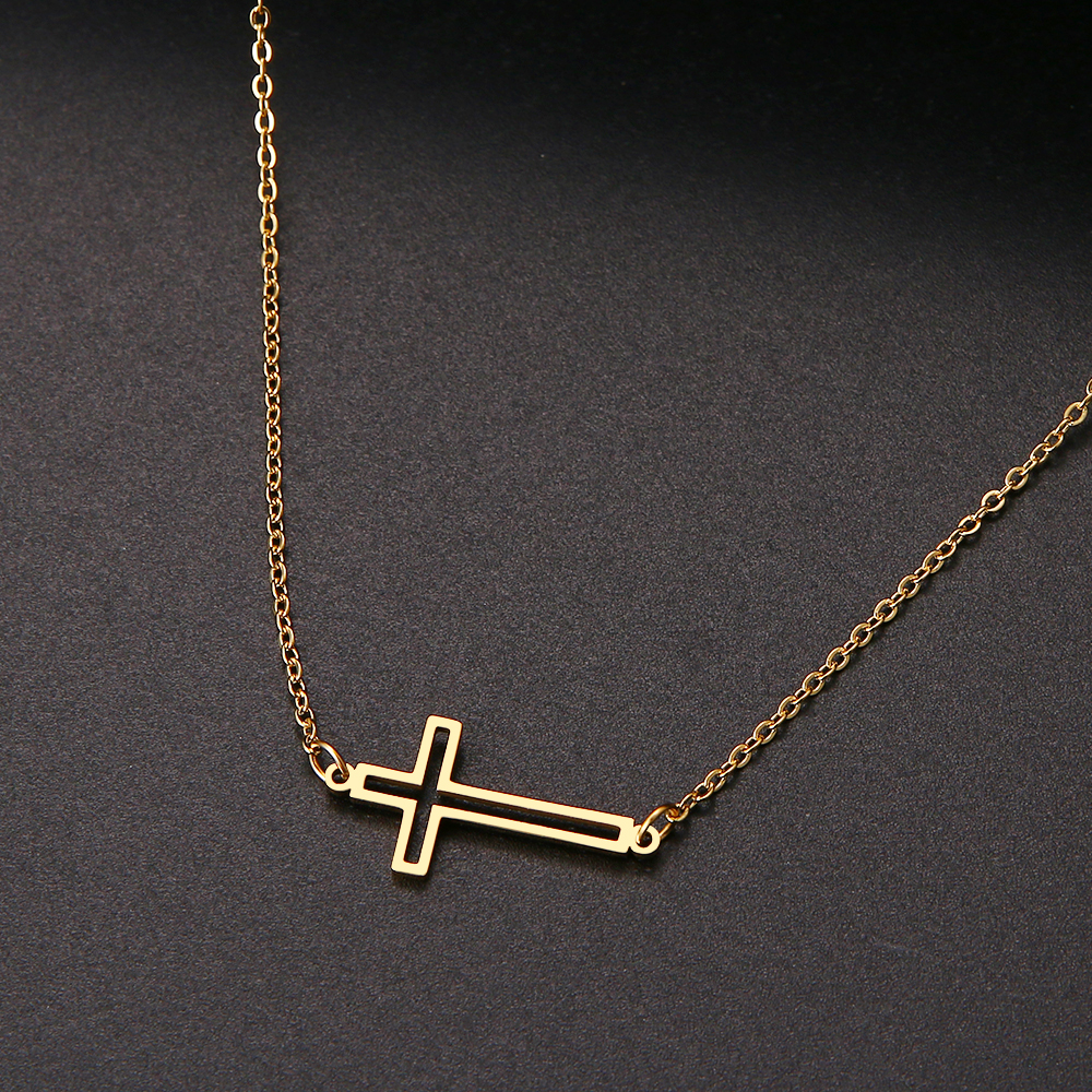 CACANA New Cross Necklaces And Pendants For Women Stainless Steel Gold Colour Male Pendant Necklaces Prayer Jewelry Friend Gift