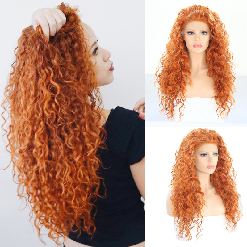 Charisma Long Curly Wig High Temperature Hair Synthetic Lace Front Wig With Baby Hair Glueless Orange Red Wigs For Women