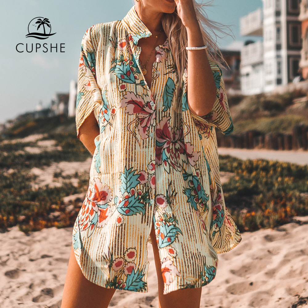 CUPSHE Floral Print Buttoned Cove Up Sexy Long Loose Shirt Robe Capes Women 2020 Summer Beach Bathing Suit Beachwear