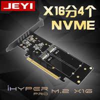 JEYI iHyper m.2 X16 à 4X NVME PCIE3.0 GEN3 X16 à 4 * NVME carte RAID PCI-E VROC carte RAID Hyper M.2X16 M2X16 4X X4 NVME * 4 RAID