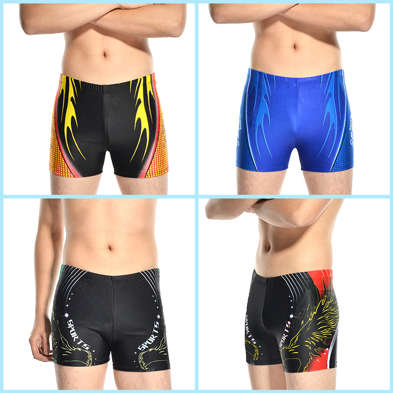 Hao Zhi Lang New Style Adult Men AussieBum Beach Shorts Plus-sized Quick-Dry Flame Swimming Trunks