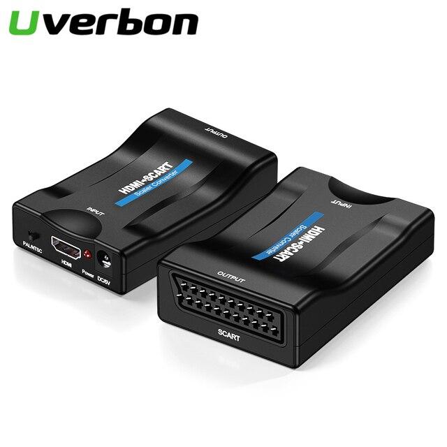 Convertidor exclusivo de Audio y vídeo SCART a HDMI, 1080P, adaptador de señal AV a HDMI, receptor HD, TV con enchufe de alimentación de la UE, caja Original