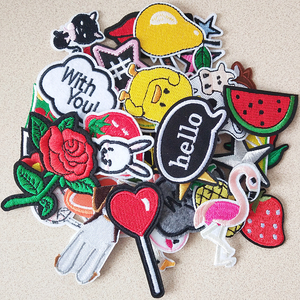 Cartoon Animal Embroidery Patches For Clothing DIY Iron On Patches On Clothes Fruit Patch Rose flower Custom Patch letter star