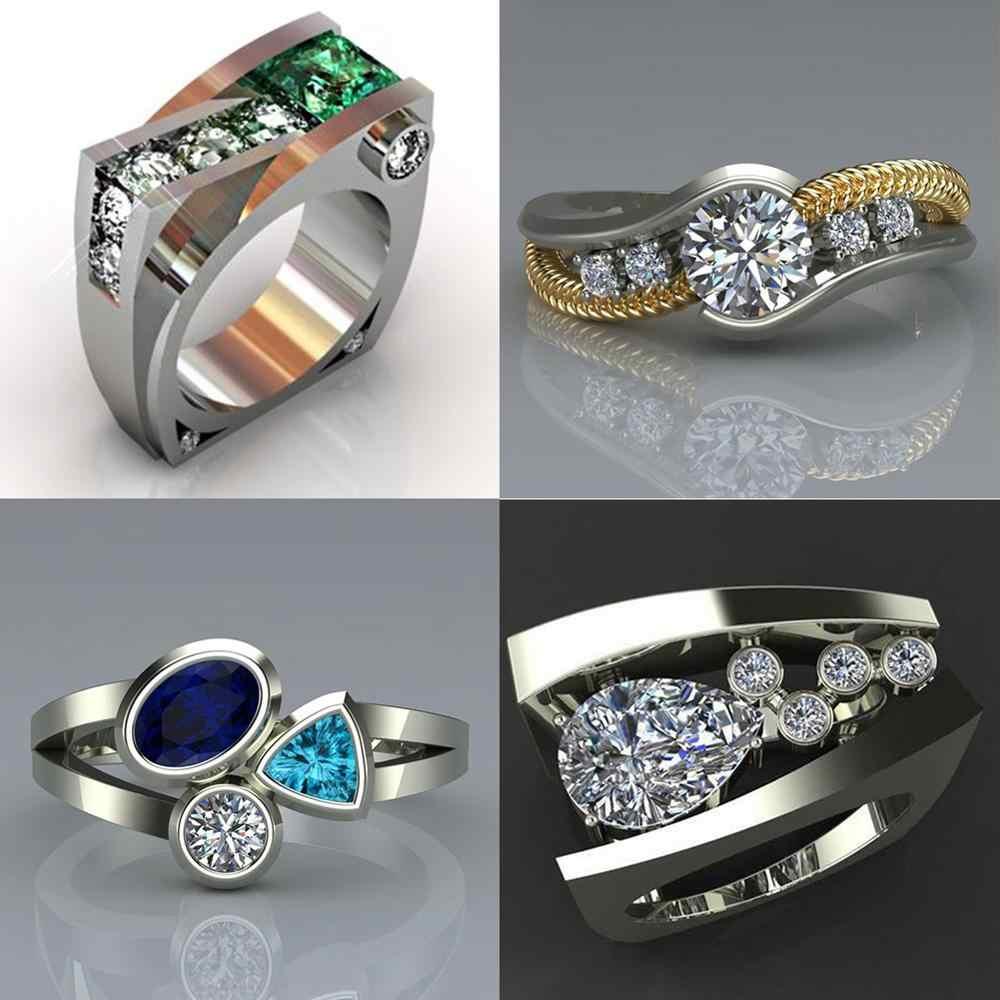 สไตล์ที่ไม่ซ้ำกันหญิงคริสตัลแหวนหินสีเขียวแฟชั่นสีงานแต่งงาน Finger แหวนสัญญารักหมั้นแหวน