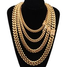 Mens Necklace Chain Gold Silver Color Stainless Steel Necklaces for Men Fashion Jewelry 8/12mm