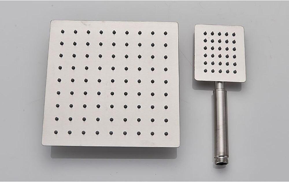 H0c18da70653f4a63b7b94e2eaa1bcd12a POIQIHY Black Bathroom Shower Faucet Set Wall Mount Black 8''Rainfall Shower Head With Handheld Sprayer Bathtub Shower Mixer