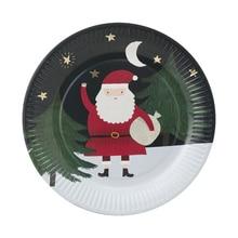 10pcs Christmas Santa Claus Paper Plates Disposable Party Tableware Xmas Dessert Cake Plate 9