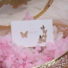 Модные ювелирные изделия с покрытием из настоящего золота 14 к, изысканные асимметричные серьги с хрустальными бабочками для женщин, элеган...