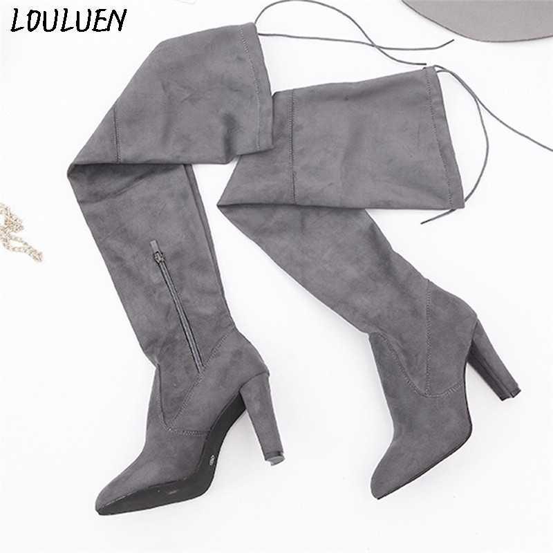LOULUEN 2019 Bottes mode femmes Stretch Faux mince Bottes hautes sur le genou Bottes talons hauts chaussures Roman Laarzen Bottes Mujer