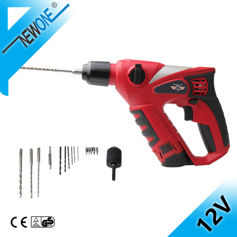 HEPHAES Multi-function Power Tools 12V DC Electric Impact Drill&Cordless Rotary Hammer &Brushless Motor&Rechargeable Screwdriver