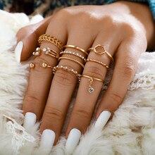 Tocona Bohemia diseño Simple oro hueco geométrico dedo conjunto Multi capa apertura nudillos anillos para mujeres damas joyería 9012