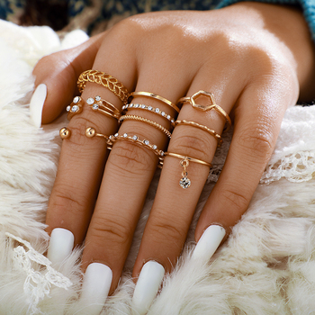Tocona Bohemia Simple Design Gold Hollow Geometric Finger Set Multi layer Opening Knuckle Rings for Women Ladies Jewelry 9012