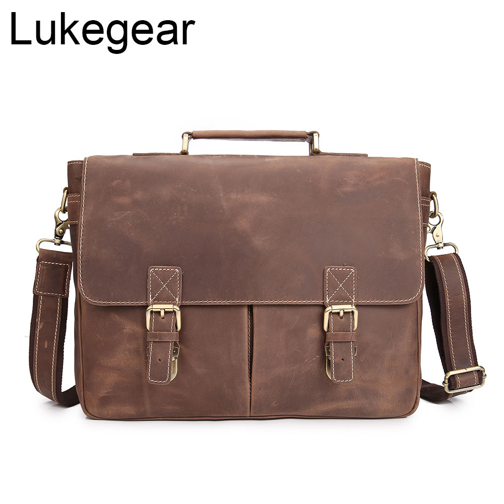 Lukegear Mens Laptop Messenger Bags Handmade Genuine Leather Briefcase Women Bag Vintage Style