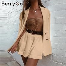 BerryGo أنيقة قصيرة المرأة الدعاوى السترة عادية ملابس الشارع البدلة بليزر و مجموعة تي شيرتات قصيرة للأطفال شيك مكتب السيدات السترة معطف الإناث
