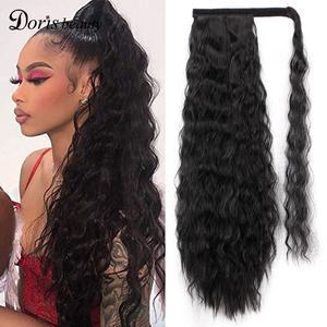 Doris beauty кудрявые вьющиеся волосы конского хвоста для наращивания, зажим для волос для женщин, синтетическая обертка вокруг волшебной пасты, ...