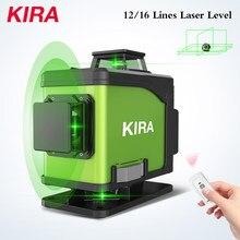 Kira nível 16 linhas 12 linhas laser 4d auto-nivelamento 360 horizontal e vertical cruz super poderosa linha de feixe de laser verde