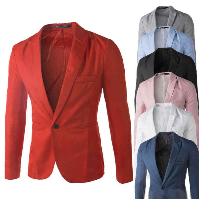 Degli uomini di modo di One Button Suit Coat Formale casual Slim Fit Giacca Sportiva di Affari di Lavoro Button Rivestimento del Cappotto del Vestito più Formale formato L-3XL