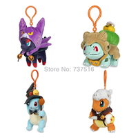 New Anime Zorua Charmander Bulbasaur Squirtle Pumpkin Parade keyring Plush Keychains Soft key chain Christmas Halloween Doll Toy