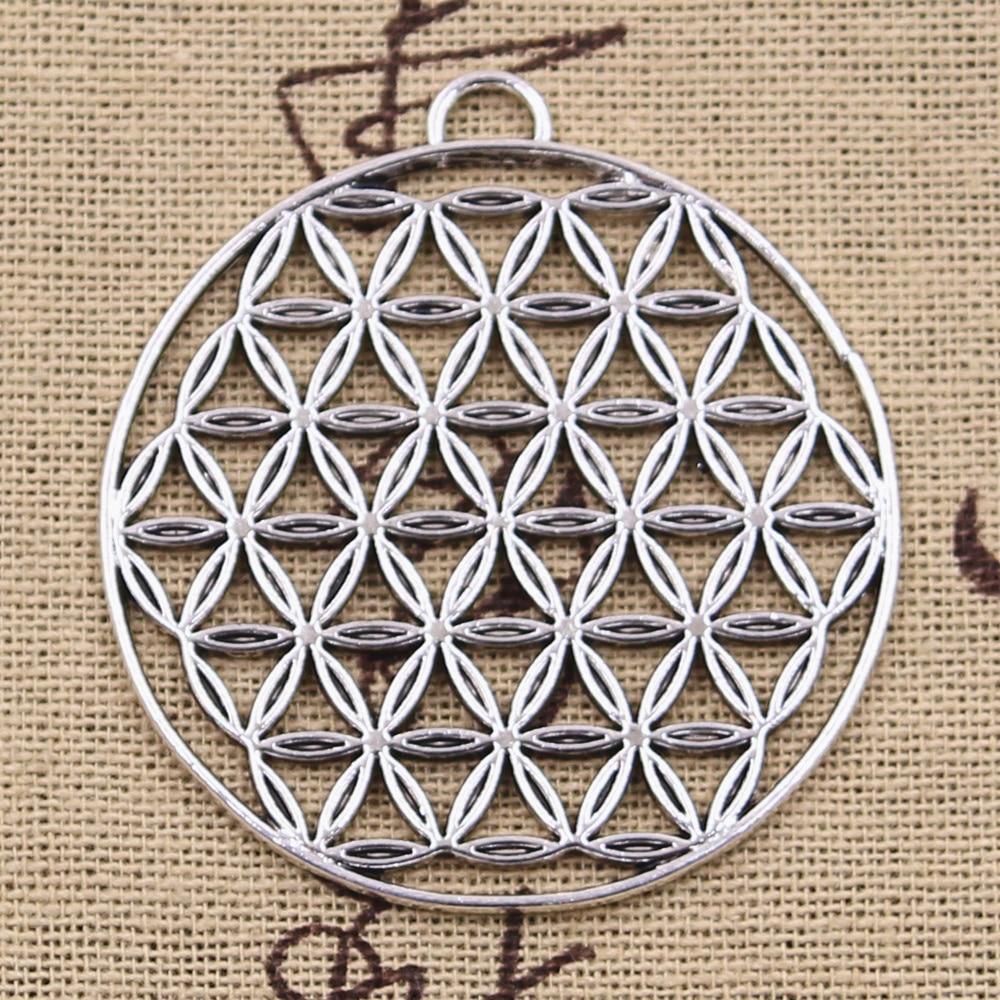 2pcs Charms Datura Stramonium Flower Of Life Yoga 48x44mm Antique Silver Pendants Making DIY Tibetan Silver Finding Jewelry