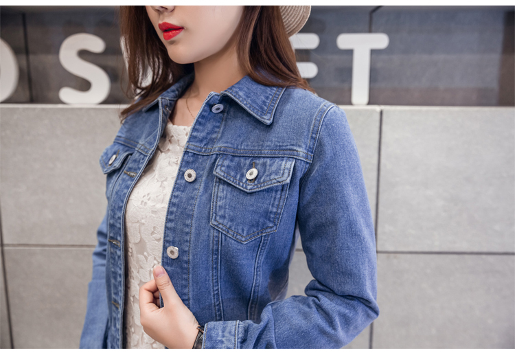H0c197bafb8114155a1522b83e5a50daaK 2019 Fashion Jeans Jacket Women Spring 2XL XL Spring Autumn Hand Brush Long Sleeve Stretch Short Denim Jacket White Pink Coats