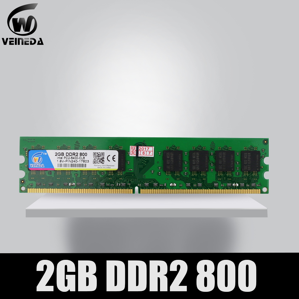 VEINEDA Ram <font><b>ddr2</b></font> 2gb for Intel AMD Compatible memoria ddr <font><b>2</b></font> <font><b>GB</b></font> 800 <font><b>667</b></font> 533 image