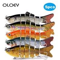 OLOEY 5Pcs Angeln Locken Fest Künstliche Köder 10cm 17 5g Sinking Wobbler Jig 3D Augen Angelgerät Verbunden crankbait Swimbait|Angelköder|Sport und Unterhaltung -